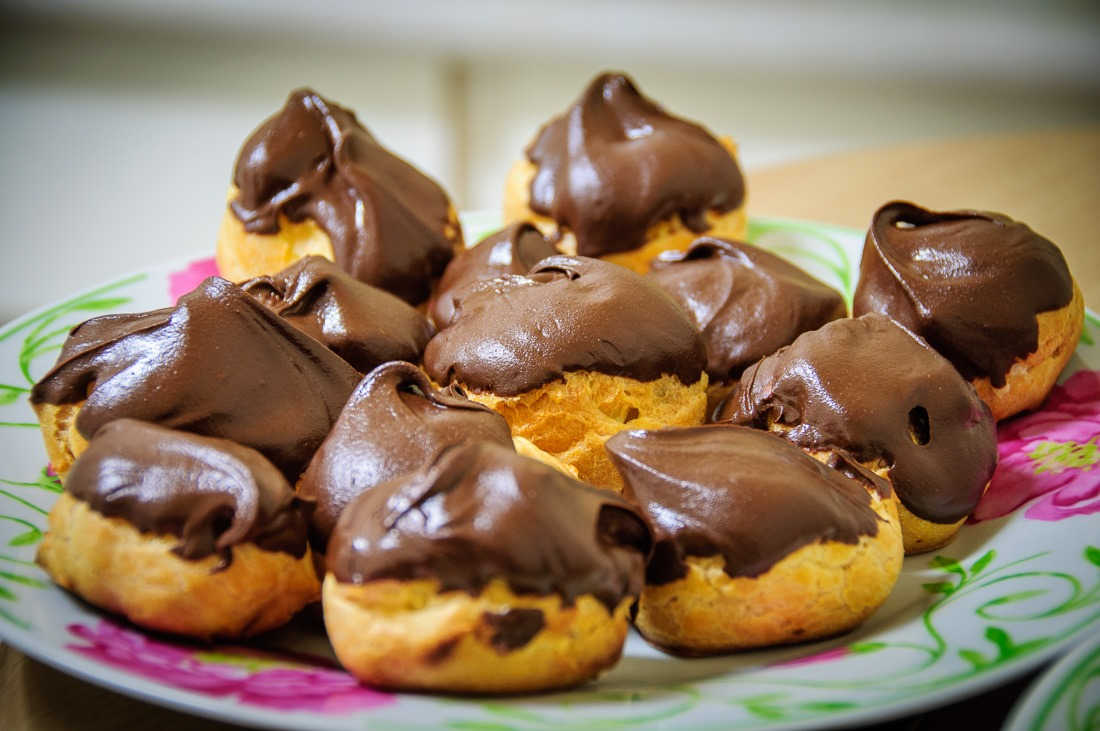 Chocolate topped creampuffs
