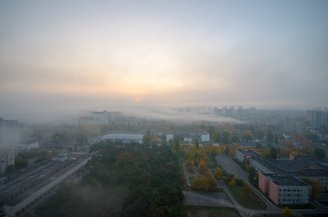 Kyiv in the morning mist