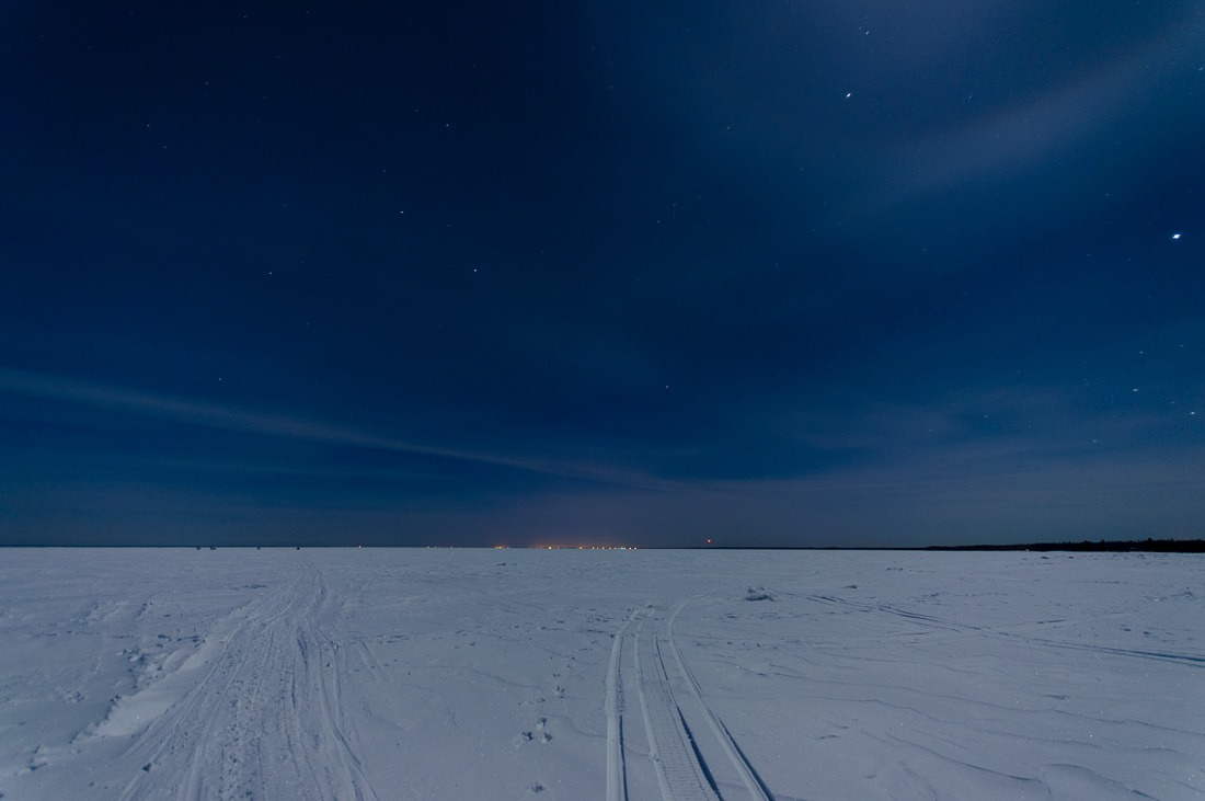 Lake Winnipeg at night