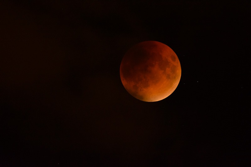 Blood red moon during a full eclipse