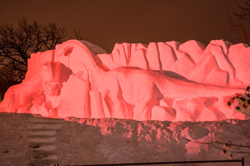 Icy dinosaurs revealed under the red light