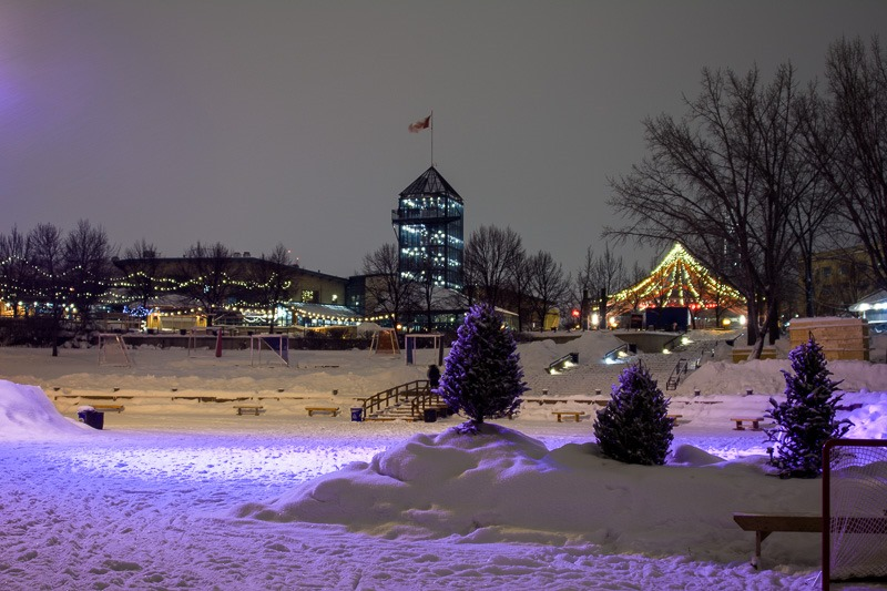Purple Snow at The Forks