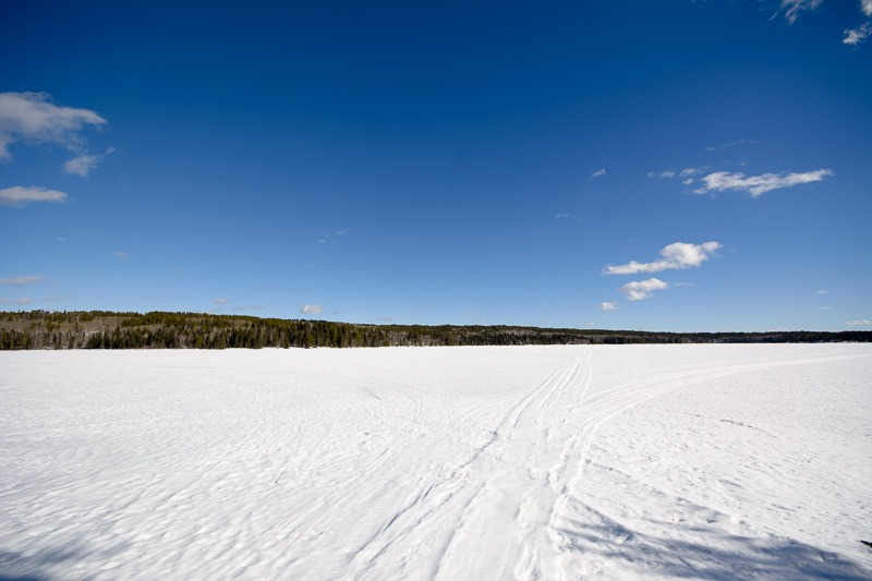 Endless blue sky over frozen lakes, that's Manitoba