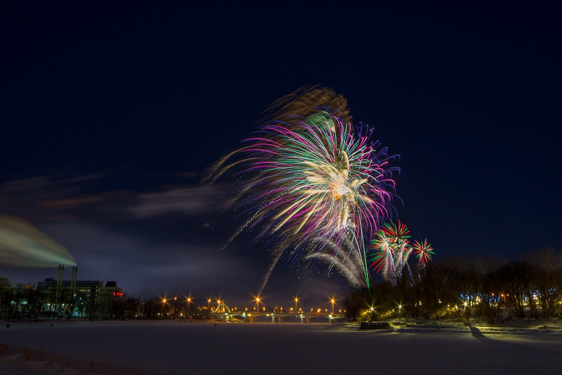 Happy New Year in Frosty Winnipeg. -#@C and still shooting. #fireworks, #winnipeg, #nightphotography