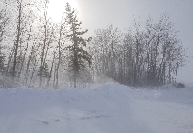 Howling wind and drive snow