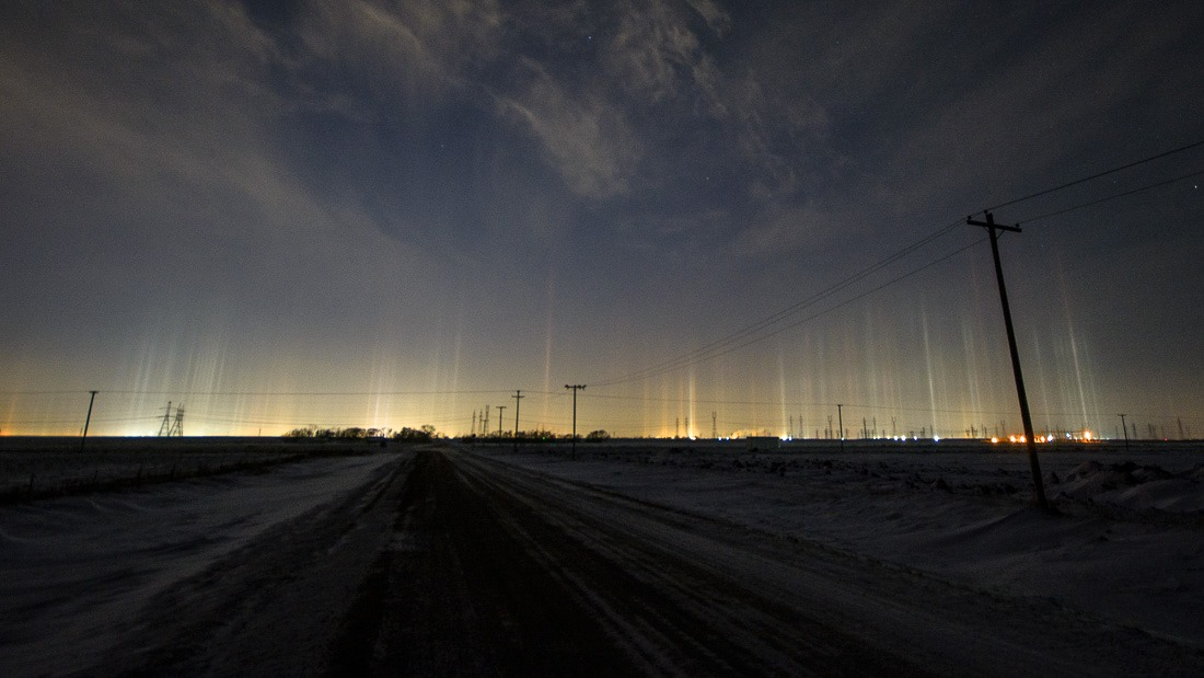 Light Pillars over Winnipeg