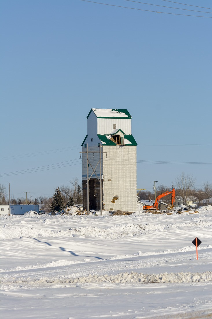 Sanford grain elevator coming down