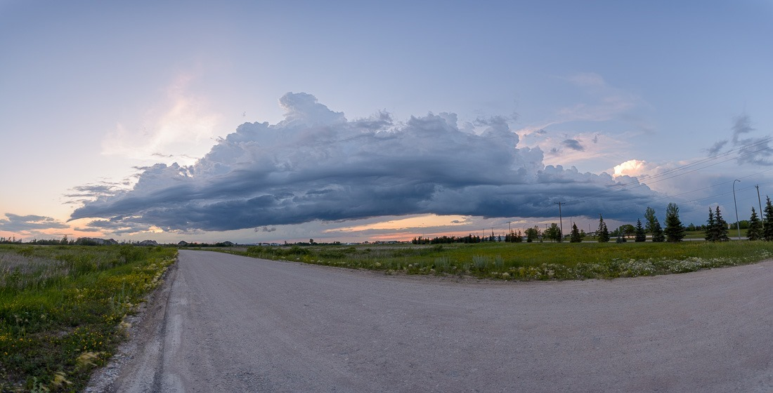 Storm system on its way to Beausejour this evening...