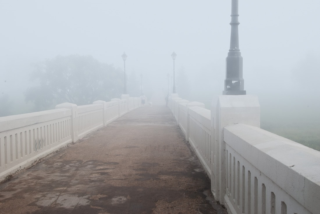 Assiniboine Park bridge, just going into the fog