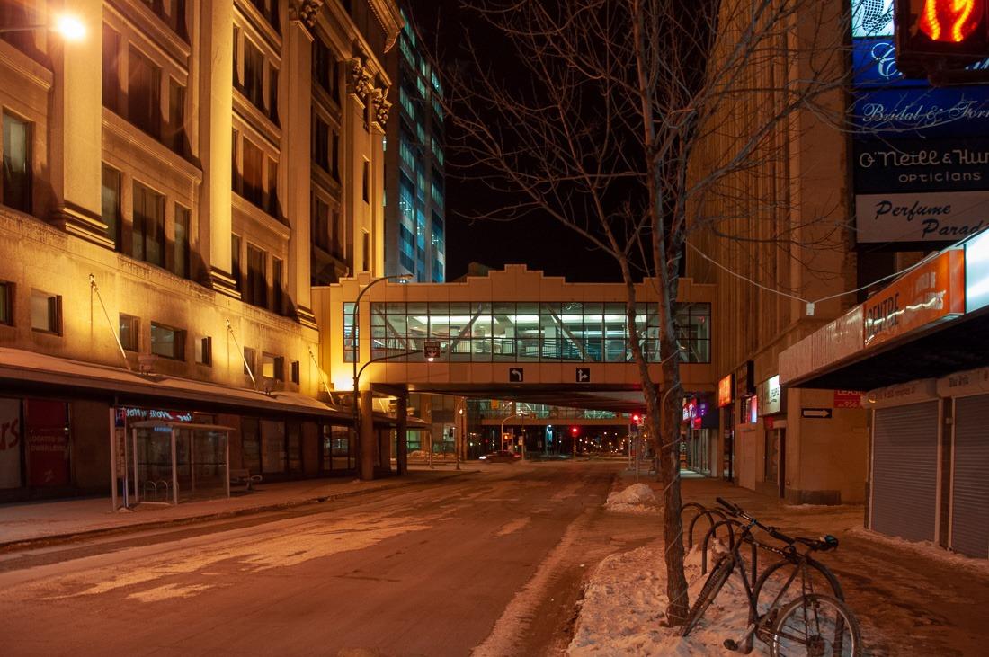 Empty downtown Winnipeg