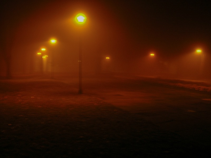 Foggy night, Konotop, Ukraine