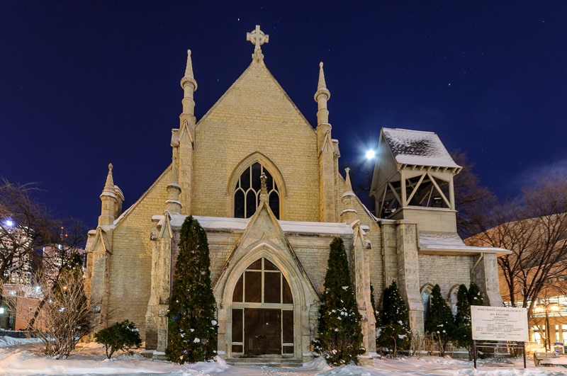 Moon struck church, downtown Winnipeg