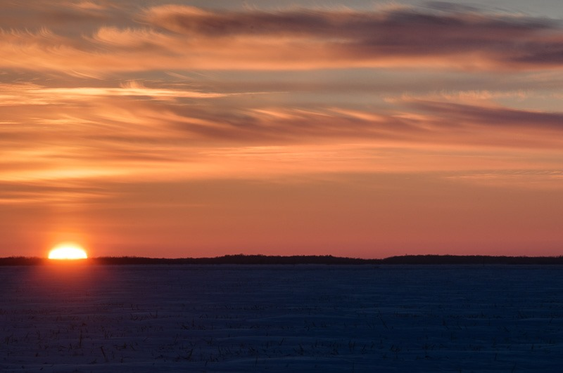 Freezing sunset over the prairies