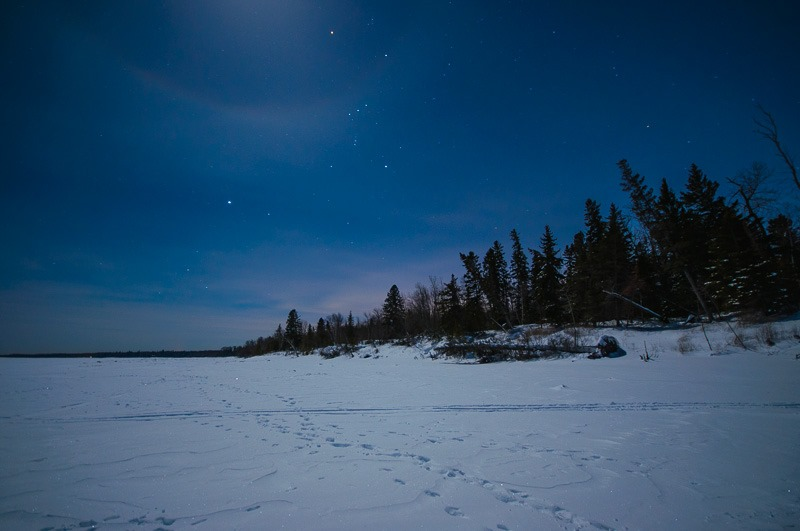 Lake Winnipeg, just outside the grasp of the full moon