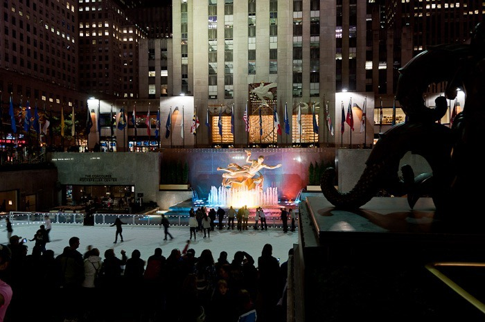 Skating at the bottom of the Rockefeller Plaza