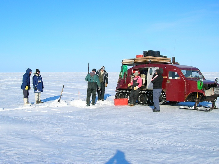 Ice fishing on Lake Manitoba