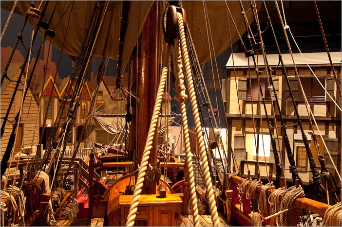 View of the rope-work from the aft over the deck of the Nonsuch
