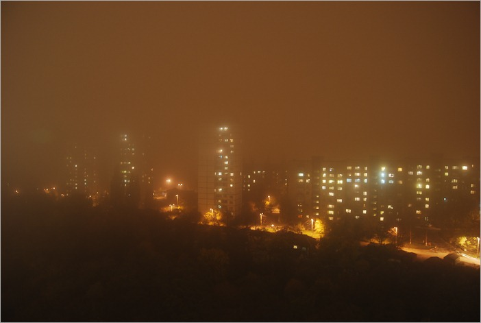 Kiev, Ukraine by a foggy night