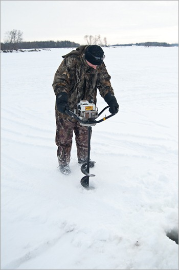 Getting a hole with an ice auger