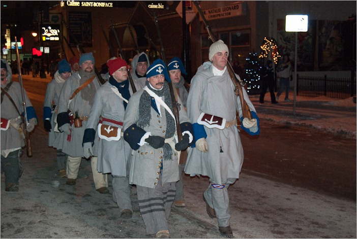 The serious guards of the Festival du Voyageur