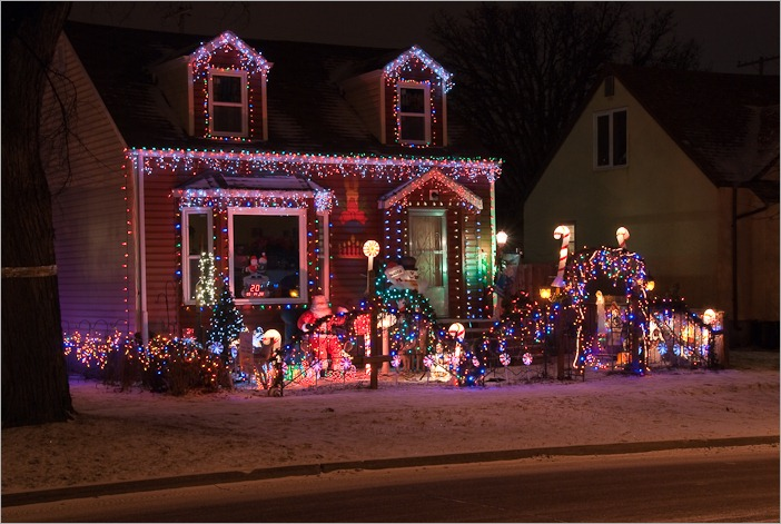 Christmas lighting on Mulvey and Harrow, Winnipeg, MB
