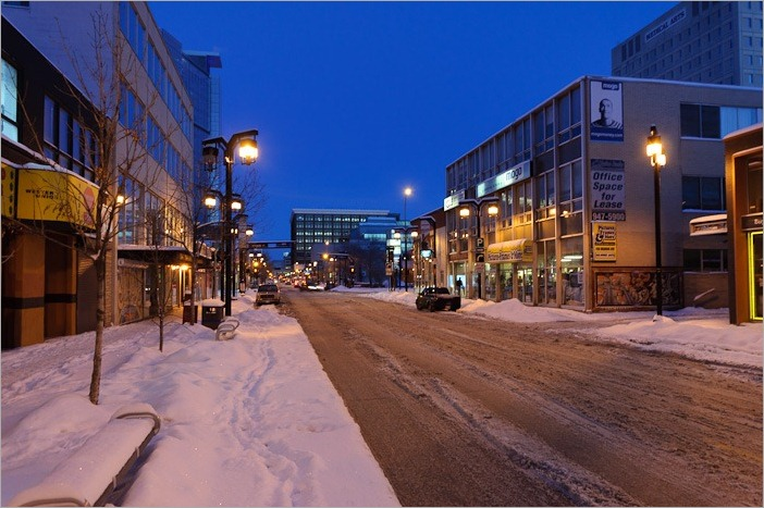 Downtown Winnipeg, just before the ploughs clean the roads